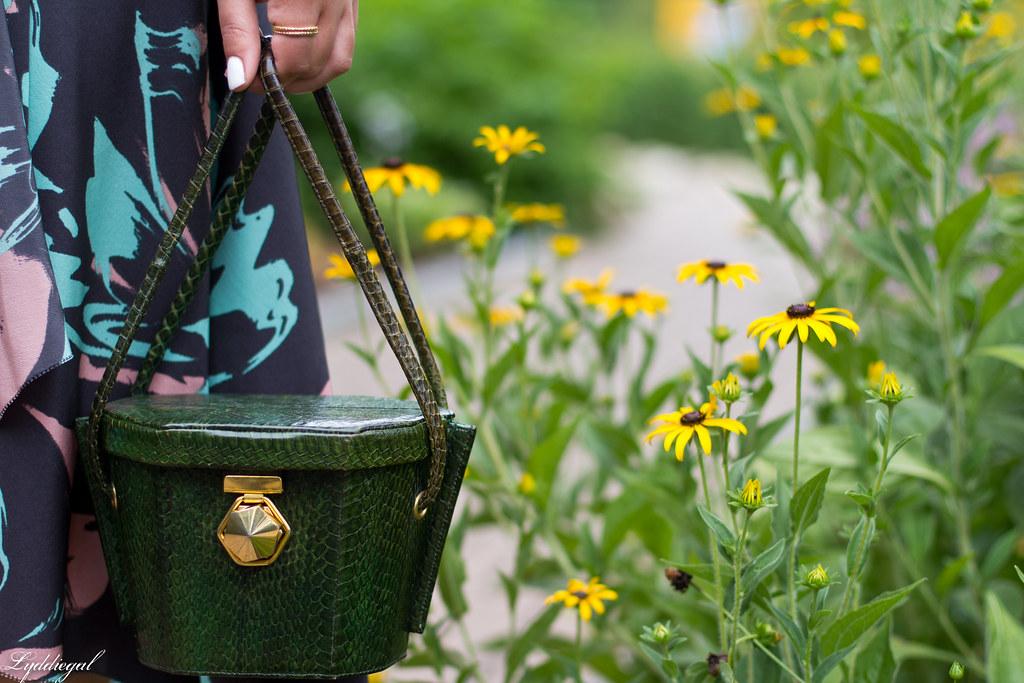 Silk floral print dress, vintage box handbag, black sandals-5.jpg
