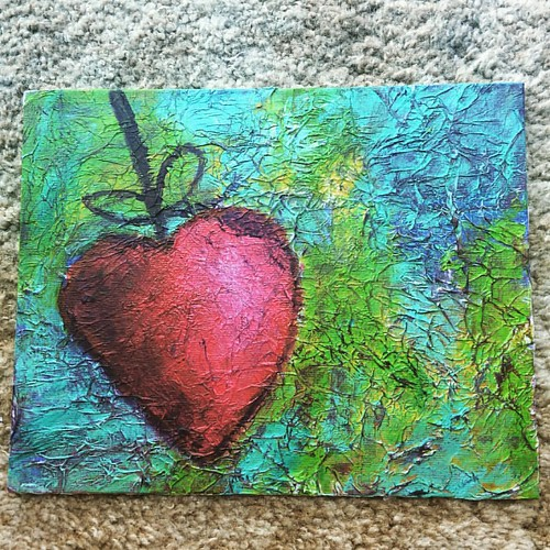 Textured acrylic painting using tissue paper. Lots of fun but need some patience for drying in between.