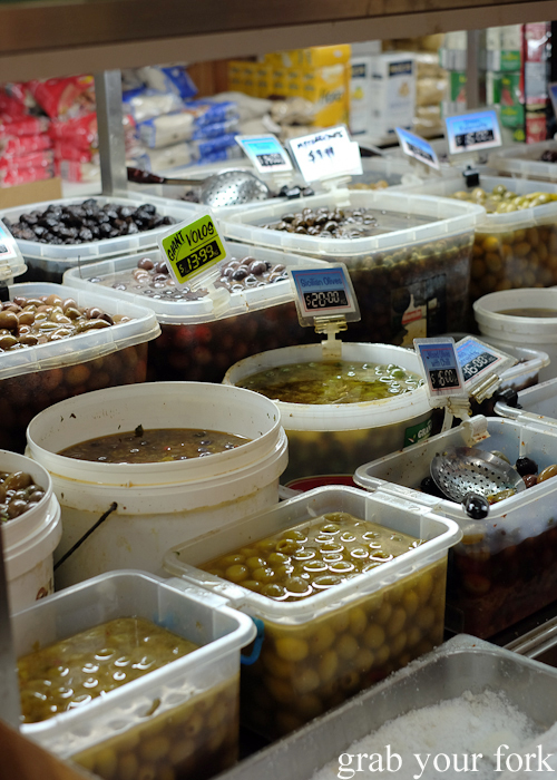 Self-serve Greek olives at Lamia Super Deli during the Community Kouzina Marrickville Food Tour for Open Marrickville