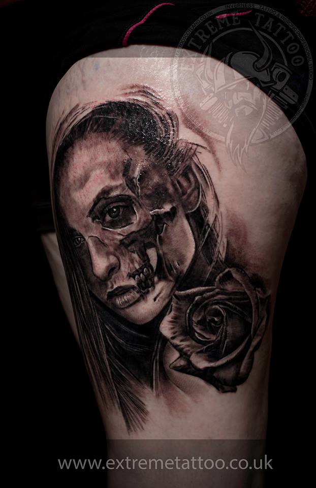 Half Skull Face Tattoo On Thigh Wwwextremetattoo Inverne Flickr