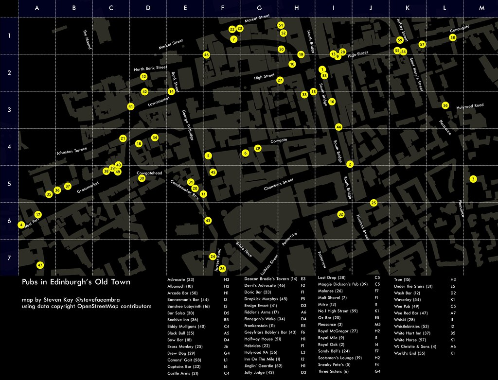 Map of Pubs in Edinburgh\'s Old Town   Map done entirely in Q…   Flickr