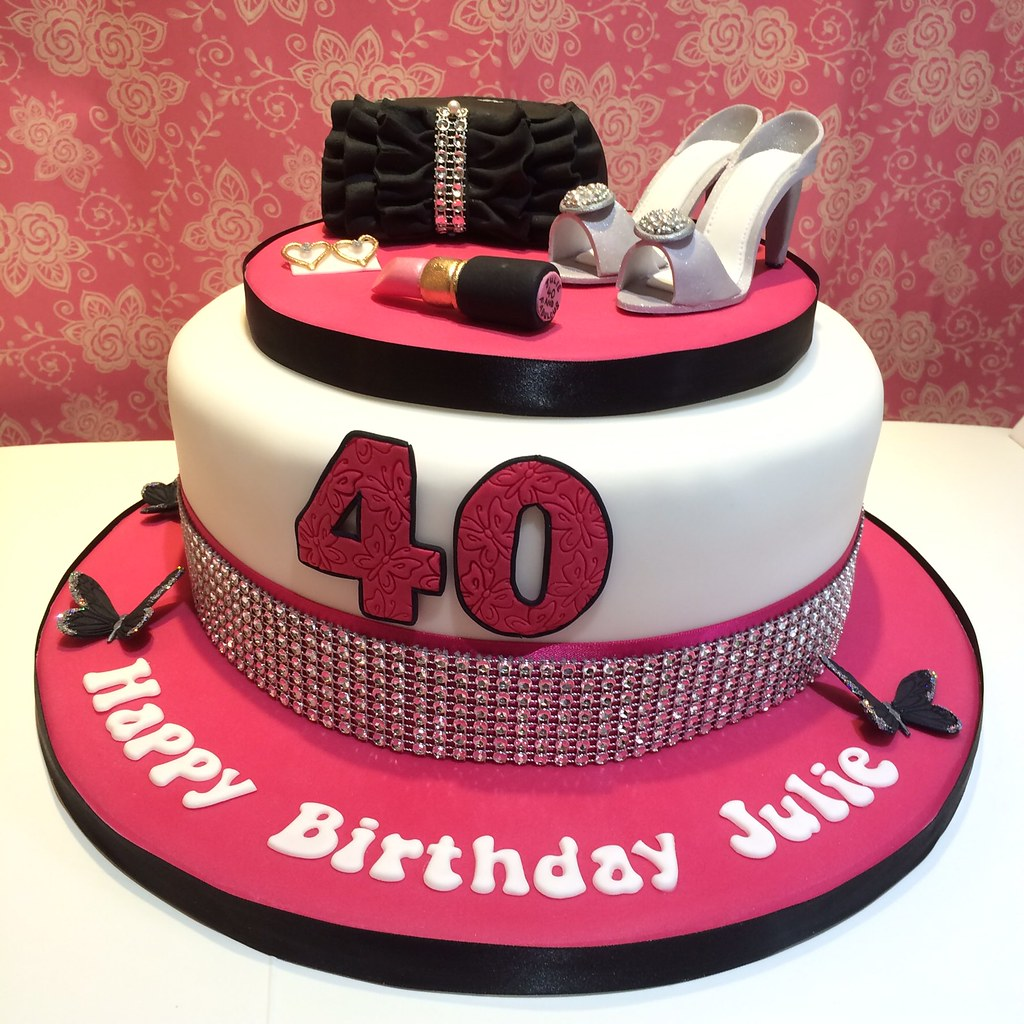 By Dotty Cupcakes Ladies Pink Black White 40th Birthday Cake