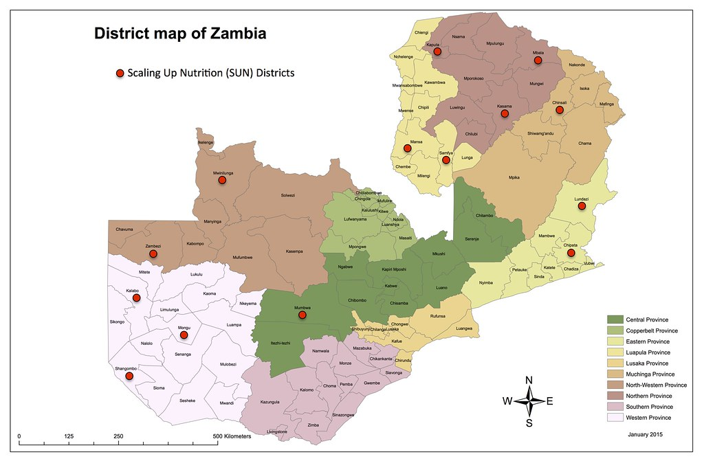 Map of Zambia SUN Districts Simon Berry Flickr