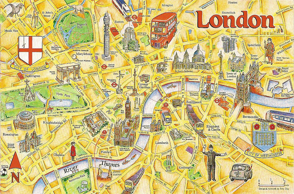London Tourist Map An early 1990s postcard showing the tou Flickr