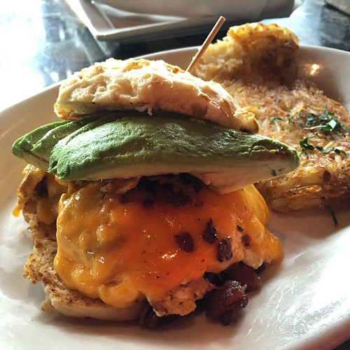#kvpinmybelly Breakfast egg and bacon biscuit with avocado at Lazy Dog in #SanDiego. NOM | by queenkv
