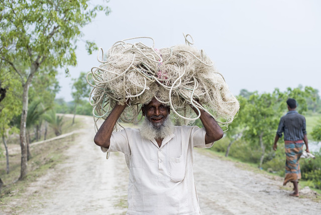 Hilsa fisher with net. Foto Agencies, 2016.