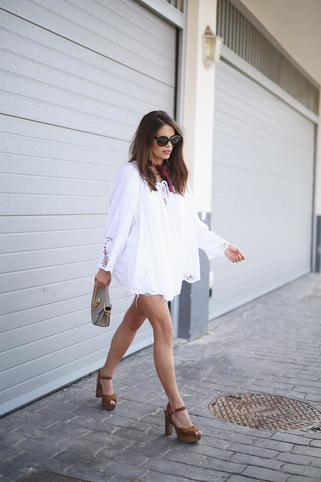 jessie chanes seams for a desire white boho blouse brown platforms heeled sandals-8