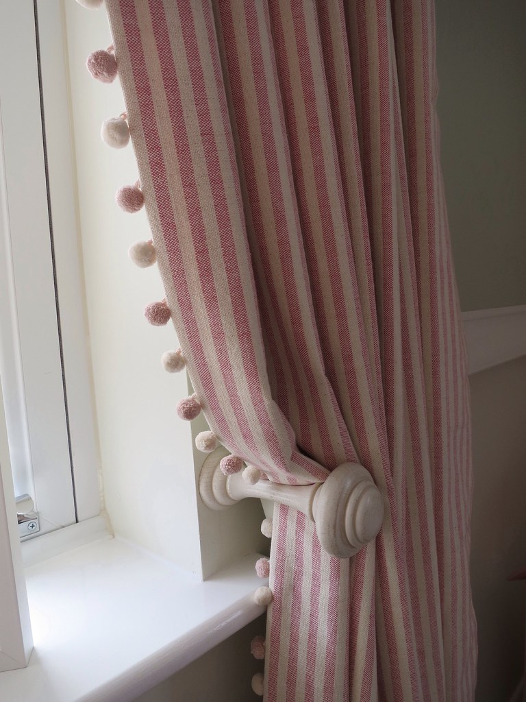 Striped Curtains With Pom Trim