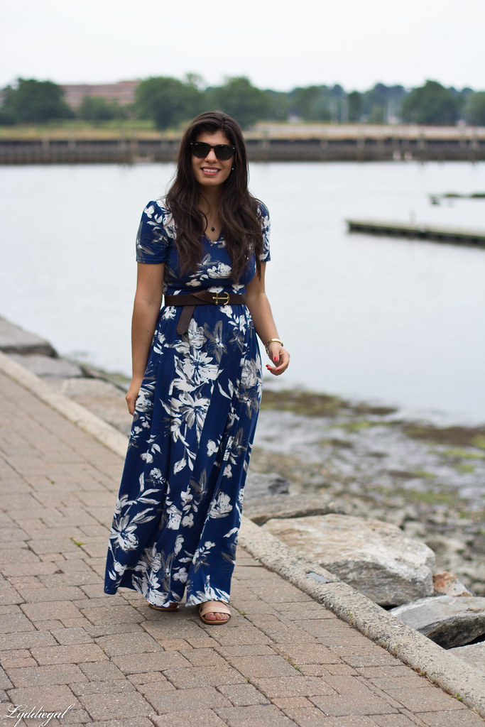 blue floral maxi dress, anchor belt, nude sandals-2.jpg