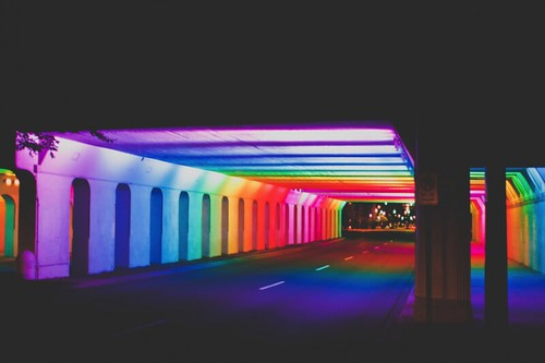"Tunnel of Lights, Railroad Park, Birmingham, Alabama,  ""Light Rails"" by Bill FitzGibbons"