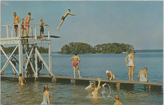 CEN Ludington MI c.1950s Summer FAMILY AND VACATION FUN Great View of State Park Diving Platform and Kids Swimming at Hamlin Lake Avery Card S15561 58-17 Postmarked 1963 | by UpNorth Memories - Donald (Don) Harrison