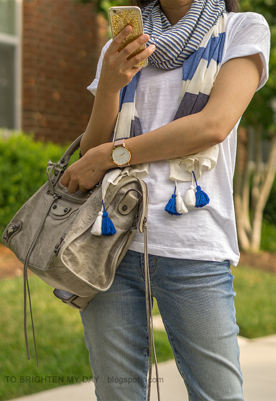 blue striped scarf, white tee, oversized watch, lightwash jeans, gray tote