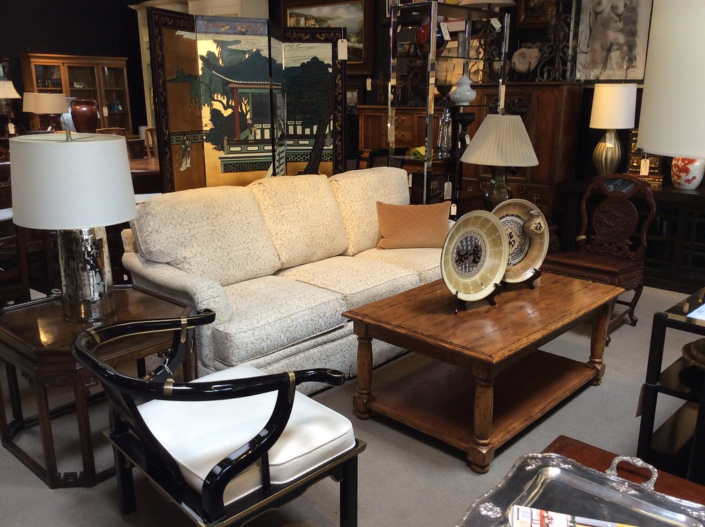 ... Sofa, Asian Chairs, Asian End Tables, Pottery Barn Lamp, Brass Lamp,