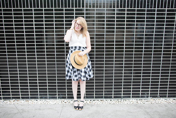 get a vintage summer look with a panama hat and gingham skirt