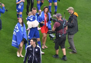 Jamie Vardy and family after victory versus Everton at the King Power Stadium. | by boloveselvis