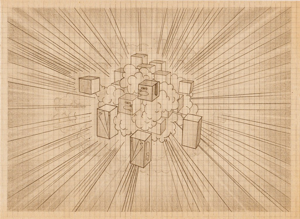pencil drawing on old stock graph paper by ted casterline flickr