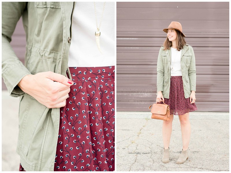 burgundy floral skirt + white tee + green utility jacket + tan ankle boots | Style On Target blog