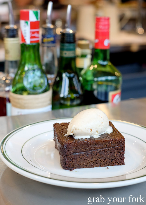 Ginger malt loaf and brown butter ice cream at Bodega 1904 at the Tramsheds Harold Park