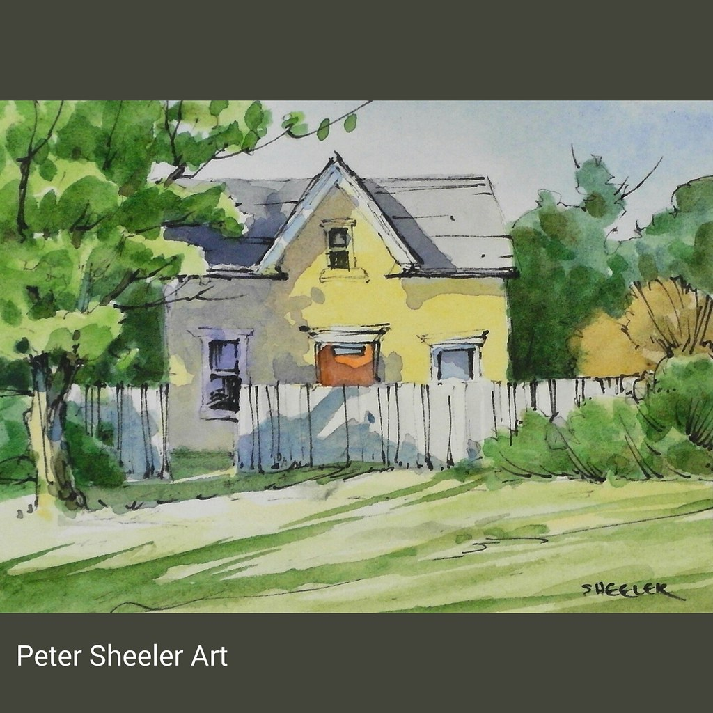 Rural Sketch Of A Cute Yellow Farmhouse Tiny One At 3x4 Inches