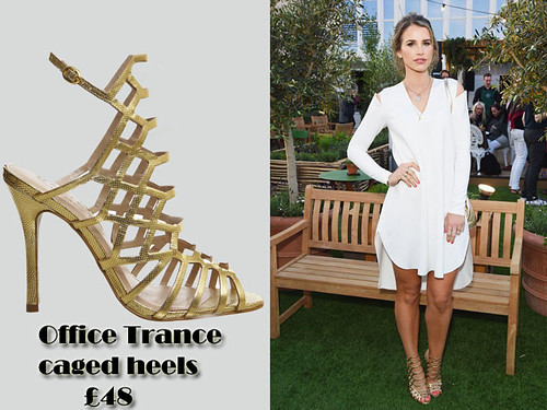 Gold metallic Office Trance caged heels with a white cut out shift dress