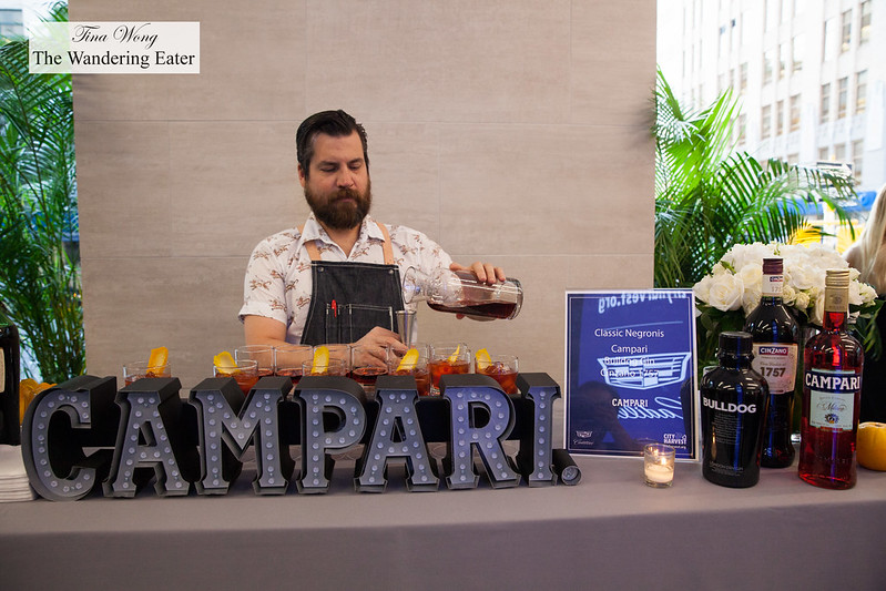 Campari station for Negronis