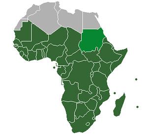 """顯示綠色部份即為所謂撒哈拉沙漠以南地區,也就是大部分國際組織所指的非洲。(圖表來源:<a href=""""https://zh.wikipedia.org/wiki/%E6%92%92%E5%93%88%E6%8B%89%E4%BB%A5%E5%8D%97%E9%9D%9E%E6%B4%B2"""">維基百科</a>)"""