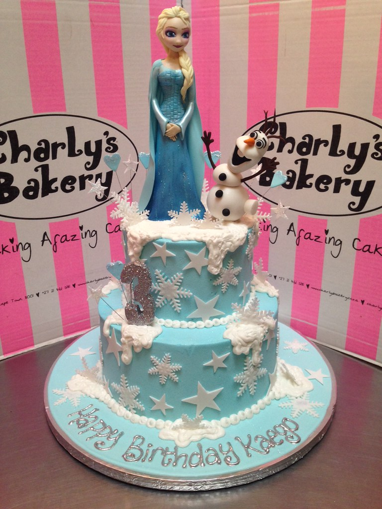 2tier Frozen themed 3rd birthday cake with 3D Elsa and Ol Flickr