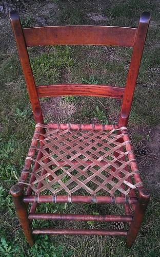 ... Antique Mule Ear Chair With A Diamond Pattern Rawhide Leather Seat~  Late 1800u0027s ~ |