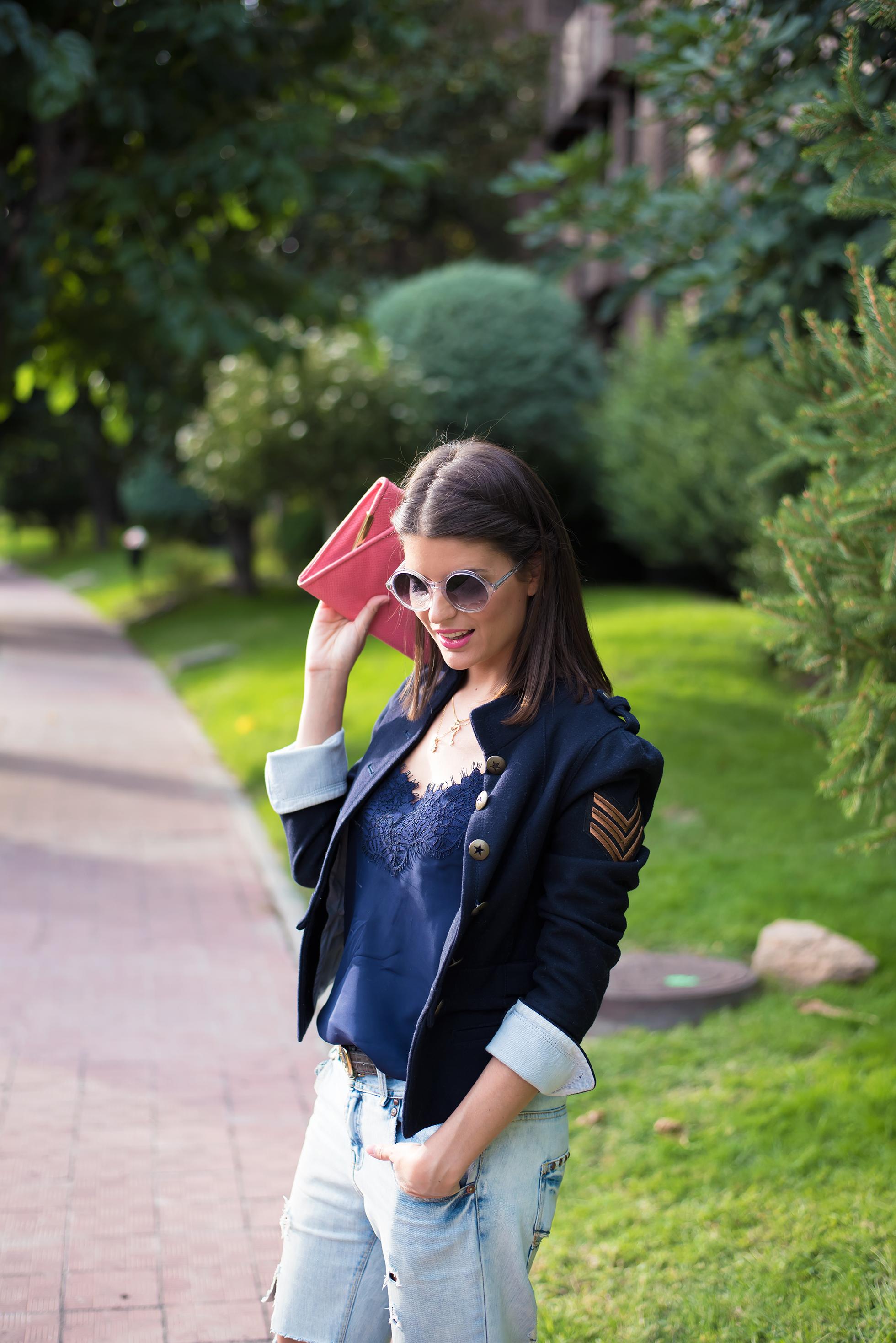 look con chaqueta militar
