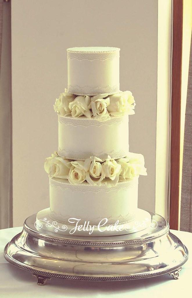 White Roses Wedding Cake   An all white wedding cake decorat…   Flickr