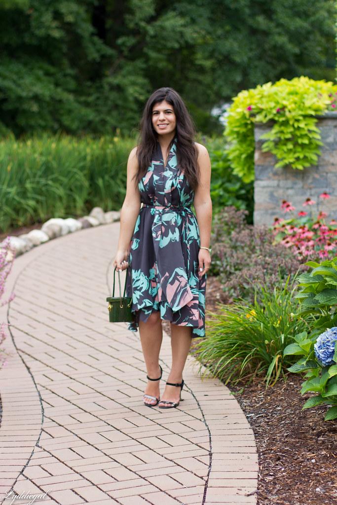 Silk floral print dress, vintage box handbag, black sandals.jpg