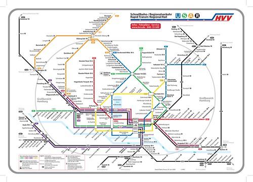 Hamburg, Germany, map of integrated transit system