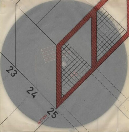 Saville asked architect Ben Kelly, a friend and regular collaborator, to draw an architectural section to illustrate Section 25's 'Girls Don't Count' single, Factory, 1980.