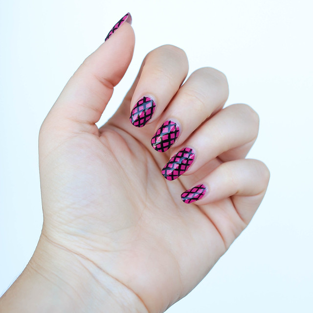 Pink and Black Fishnet Manicure | Julep Polish Nail Art on Living After Midnite Blogger Jackie Giardina