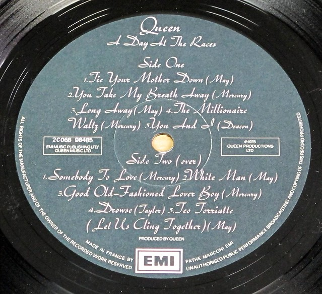 "QUEEN DAY AT THE RACES France GATEFOLD 12"" LP VINYL"