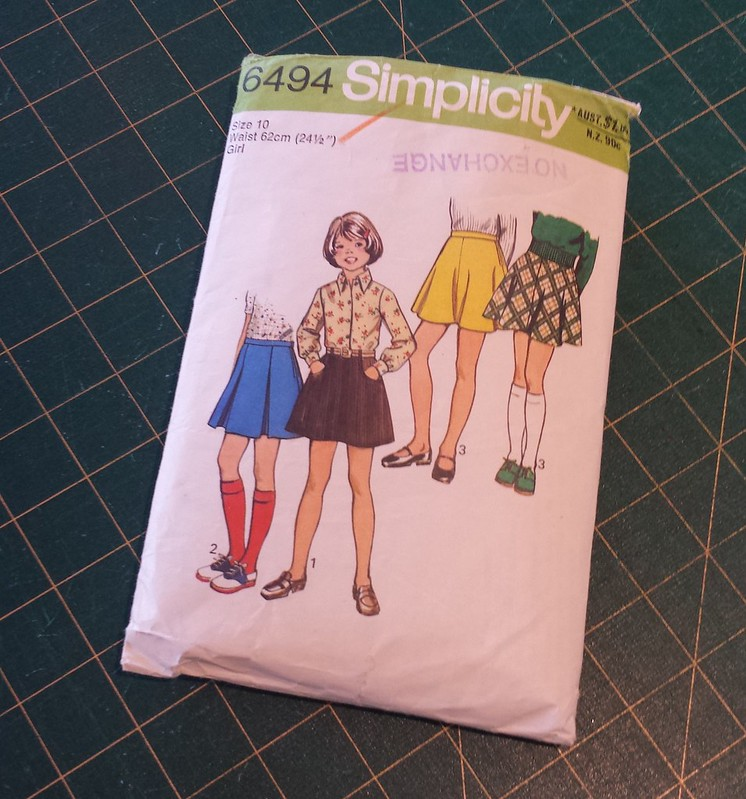 Vintage Simplicity 6494 copyright 1975 skirt with Made It Patterns Groove dress shortened to a top