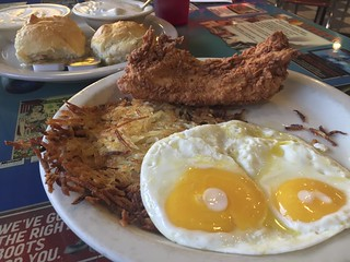 Country Fried Chicken, Eggs & Hash Brown with Biscuits