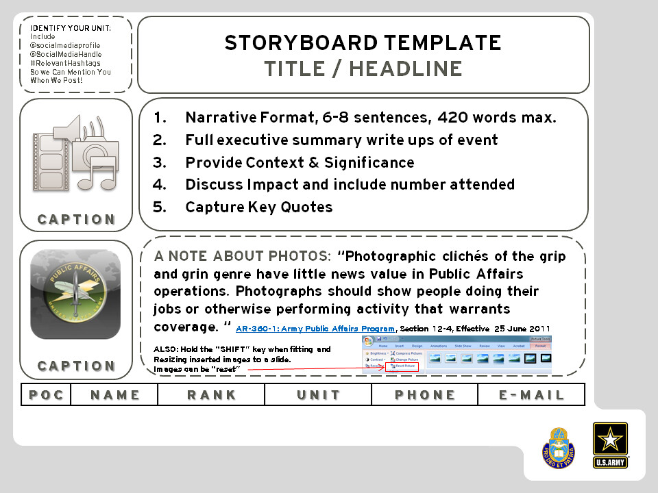 Office Of The Chief Of Chaplains Storyboard Template Army