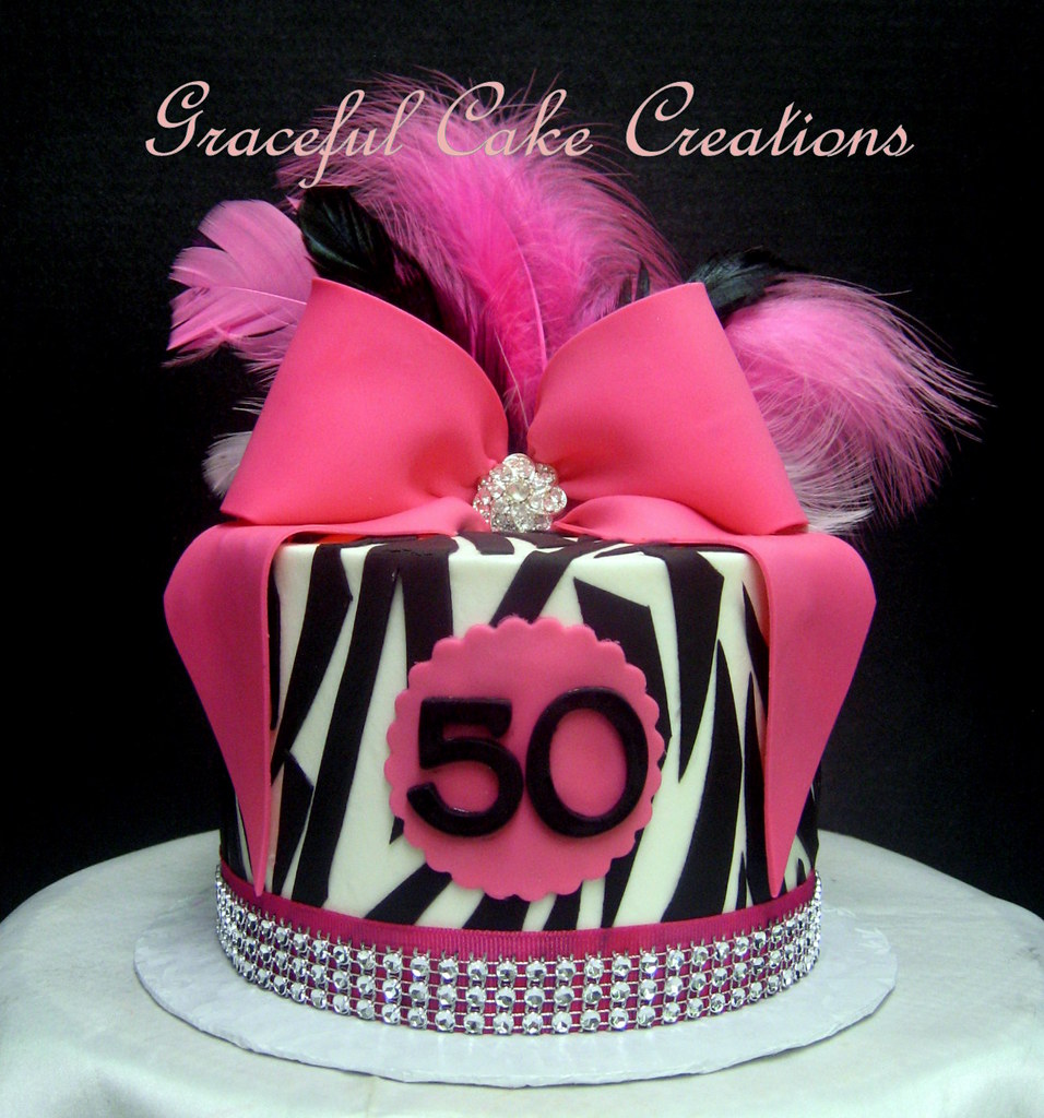 Zebra Print Hot Pink And Bling 50th Birthday Cake Flickr