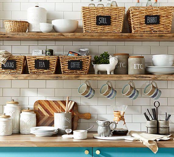 Open Kitchen Shelves W Label Wicker Basket Pier 1 Heath Ashli