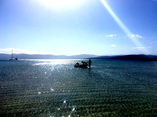 M and SB - first to the dinghy. Great Bay, Bruny Island. | by miaow