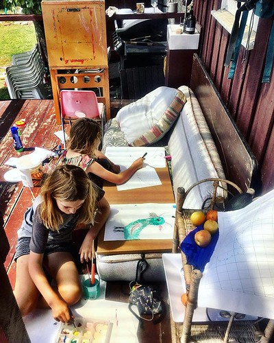 016/365 • painting on the tiny verandah - today we have no plans • . . #sunshine #painting #todaywehavenoplans #sisters #Summer2019 #airbnb #gypsies #mtstuart #improvising #bellalunaboat #glamping #family #australia #tasmania #abcmyphoto #tasmaniagram #di | by miaow