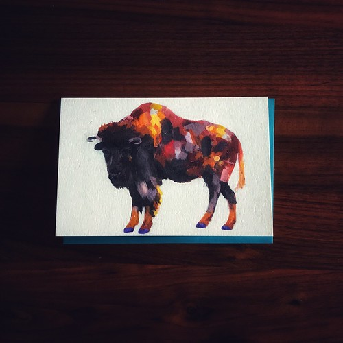 Card with drawing of buffalo on it