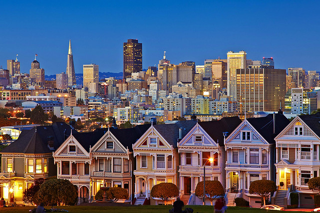 Painted Ladies from San Francisco from Alamo Square Park San Francisco