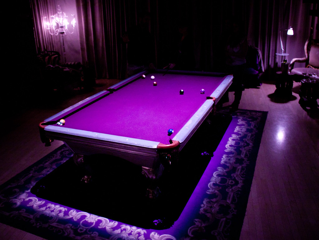Purple Pool Table At The Purple Bar Sanderson Hotel Lon