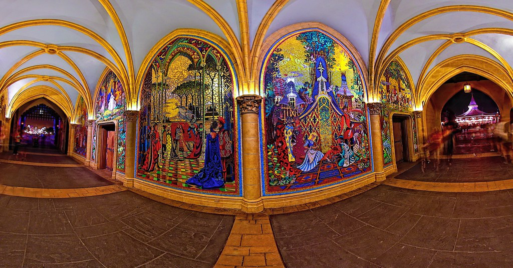 Magic kingdom cinderella castle gateways inside the for Disney world mural