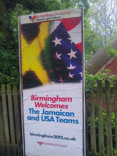 Birmingham welcomes The Jamaican and USA Teams - billboard / advert near Sarehole Mill | by ell brown