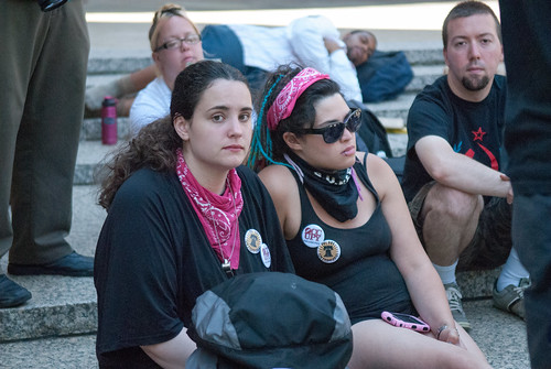 Arrested occupier hanging out with her friends after being released from jail following the mass arrest at Wildcat March during NATGAT July 1 | by juliacreinhart