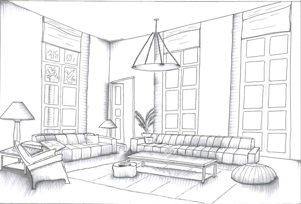 Sala De Estar Monocrom 225 Tica Desenho Para Exerc 237 Cio De