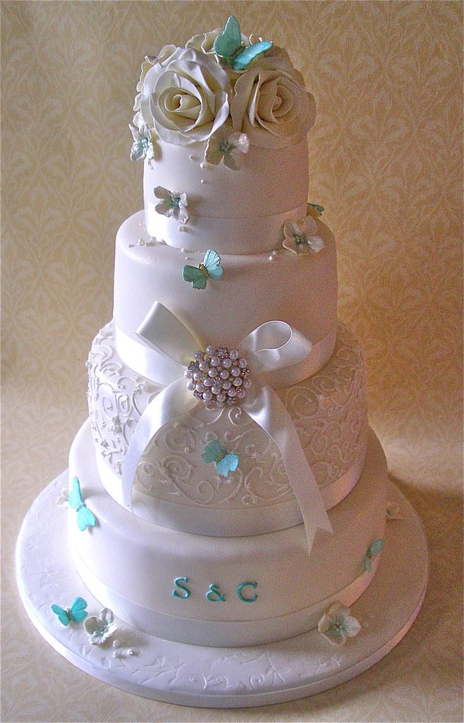 Turquoise And White Wedding Cakes